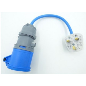 Electric Hook up Mains UK Plug Adaptor/ Converter Blue Cable