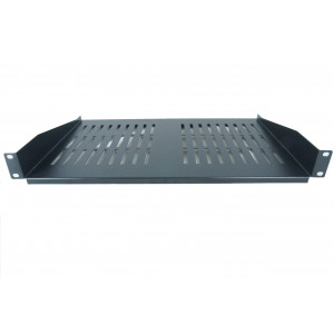 All-Rack 1U 300mm Black Deep Front Fixing Cantilever Shelf