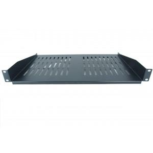 All-Rack 1U 300mm Black Deep Front Fixing Cantilever Shelf