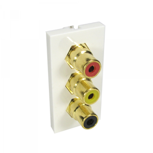 3 X RCA (Red, Yellow, Black) - Coupler Type + Gold Connector