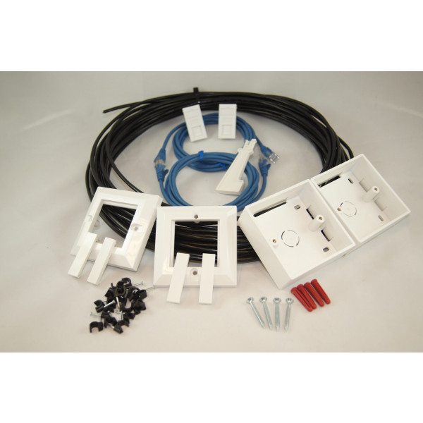 External Cat 6 UTP Ethernet Home Network RJ45 Kit Full Copper in Black