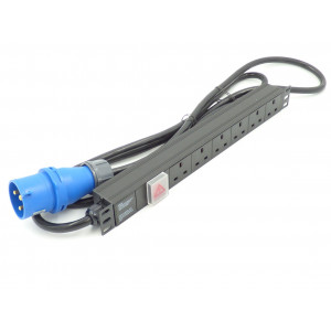 All-Rack 6 Way Horizontal UK PDU Inc 32Amp Commando Plug