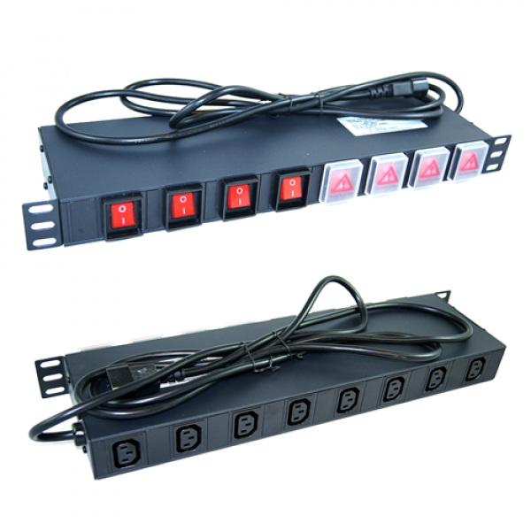 All-Rack 19 Inch 1U PDU Unit with 8 X Individually Switched IEC OUTPuts