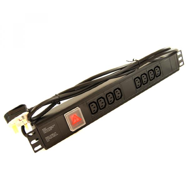 All-Rack 8 Way Horizontal IEC PDU with UK Plug