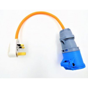 Electric Hook up Mains UK Plug Adapter/Convertor Orange Cable