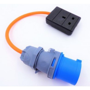 Electric Hook up Mains UK Socket Adaptor/Converter Orange Cable