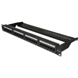 "Cat6 Right Angled 24 Port 19"" Patch Panel Black"