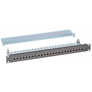 CAT 6A Right Angled 24 port 1U 19'' STP Patch Panel, Grey