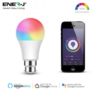 Smart WiFi GLS LED Lamp B22, 9W, RGB+W+WW, Dimmable