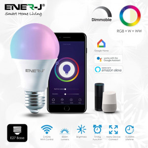 9W Smart WiFi A60 Bulb, 806 Lumens, RGB+W+WW, E27 Holder