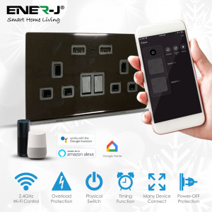 13A Smart WiFi Twin Wall Sockets With 2 USB Ports - Black