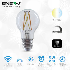 8.5W Smart WiFi CCT Changing & Dimmable GLS A60 LED Lamp E27 - Pack of 3