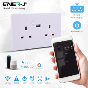 Smart WiFi 13A WiFi Twin Wall Sockets with single USB Push button