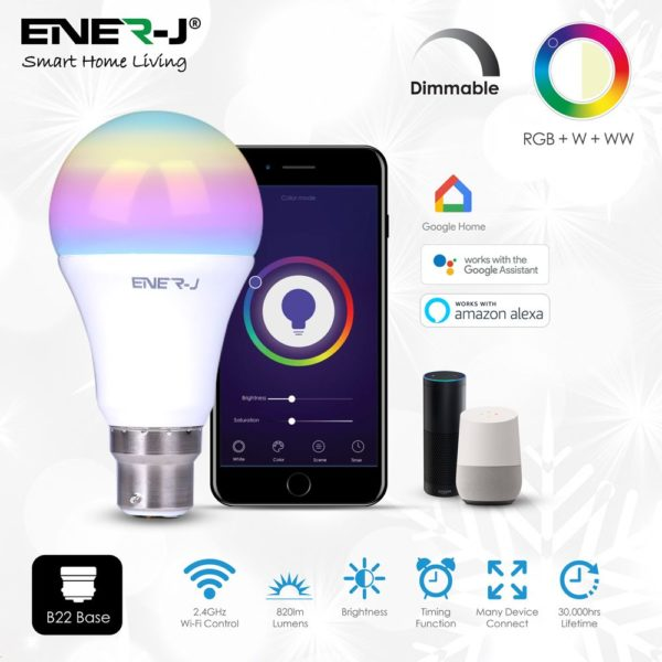 Smart WiFi GLS LED Lamp B22, 9W, RGB+W+WW, Dimmable – PACK OF 3